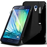 Spyrox ( Black ) Samsung Galaxy A3 Case Stylish Fitted S Line Wave Gel Case Skin Cover With LCD Screen Protector Guard, Polishing Cloth & Mini Retractable Stylus Pen