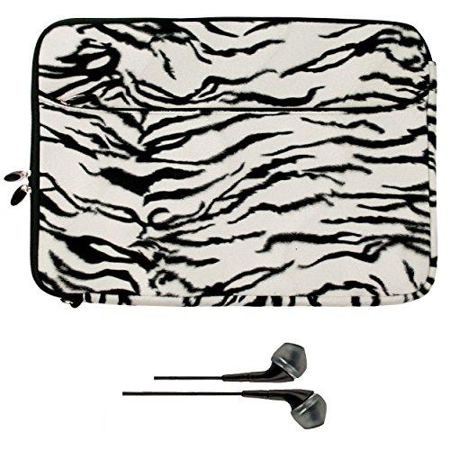 VanGoddy Neoprene Sleeve - Sinister WHITE ZEBRA City PRO Pouch Substitute Glove for Samsung Chromebook 2 13 Laptop + Negro Wireless Mouse