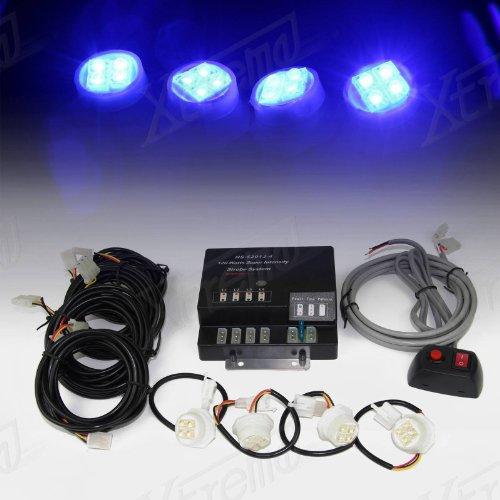 Xtreme® 120W 4 Led Bulbs Hide-A-Way Emergency Hazard Warning Strobe Lights - Blue