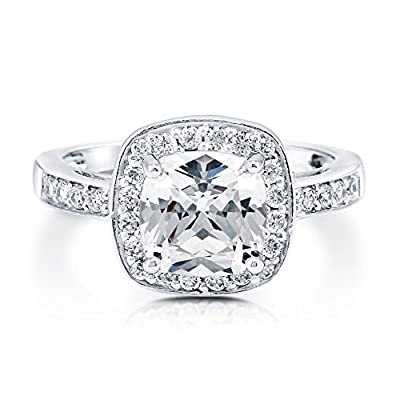 BERRICLE 925 Sterling Silver Cushion Cut Cubic Zirconia CZ Halo Women Engagement Wedding Bridal Ring