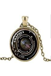 Glass Pendant Necklace, Photo Grapher Gift Camera Pendant, Photo Gift Black Glass Necklace