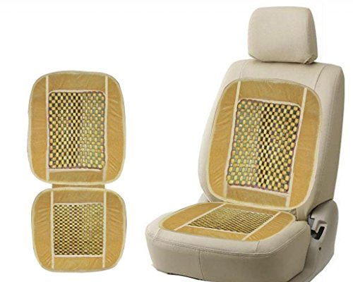 CP Bigbasket Car Wooden Bead Seat Cushion with Beige Velvet Border 1pc