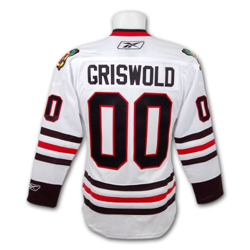 Clark Griswold Christmas Vacation Blackhawks Premier Replica White Hockey Jersey Size Large