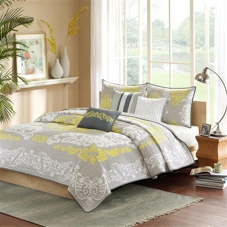 Madison Park Cameo 6 Piece Quilted Coverlet Set, King, Yellow