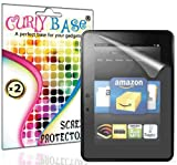 """CurlyBase 2 X Amazon Kindle Fire HD 7"""" 7 Inch Clear Screen Protector Guard / Film / Cover + Cleaning Cloth"""