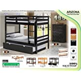 """100% Solid Wood Arizona Twin/Twin Bunk Bed by Palace Imports, WHITEWASH COLOR ONLY, 64""""H x 41.5""""W x 78""""L, 2.5""""x1.5"""" Posts, 8 Slats Included. Optional Pack of 18 Slats, Trundle, Drawers, Step Storage Sold Separately. Requires Assembly"""
