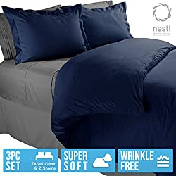 Nestl Bedding Duvet Cover, Protects and Covers your Comforter / Duvet Insert, Luxury 100% Super Soft Microfiber, Queen Size, Color Navy Blue, 3 Piece Duvet Cover Set Includes 2 Pillow Shams