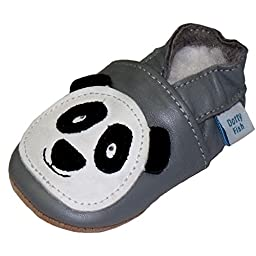 Soft Leather Baby boys or girls Shoes with Suede Soles by Dotty Fish with Suede Soles. Panda - 2-3 years
