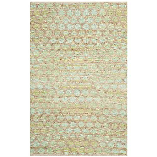 Safavieh Cape Cod Collection CAP820C Hand Woven Green and Natural Cotton Area Rug, 4 feet by 6 feet (4' x 6')