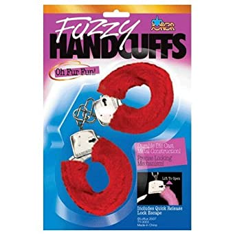 Sexy Soft Red Steel Fuzzy Furry Handcuffs Hand Cuffs
