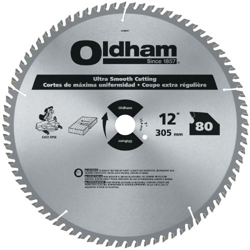 Oldham 12080TP All Purpose 12-Inch 80 Tooth ATB Trim and Finishing Saw Blade with 1-Inch Arbor (12 Inch Trim Blade compare prices)