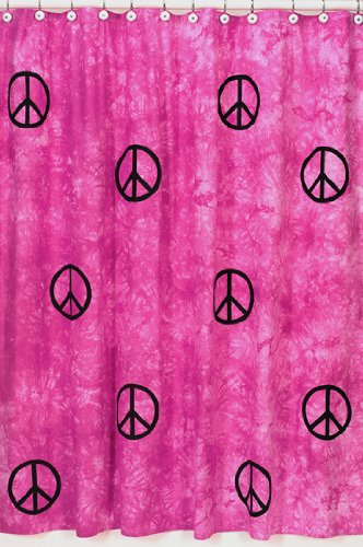 Pink Groovy Peace Sign Tie Dye Kids Bathroom Fabric Bath Shower