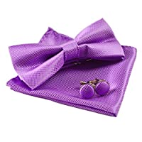 Alizeebridal Men's Solid Formal Banded Pre-tied Bow Ties Set