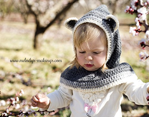 Rustic Raccoon Hooded Cowl Crochet Pattern - Sizes Newborn, Baby, Toddler, Child, and Adult Included