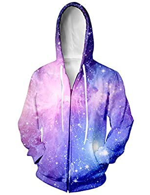 Raisevern Unisex Galaxy Nebula Zip Up Hoodie All Over Print Jacket Sweatshirt