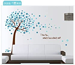 1 X Blue Peach Tree Decor Decals Poster House Wall Stickers Quotes Removable Vinyl Large Wall Sticker for Kids Rooms W-10