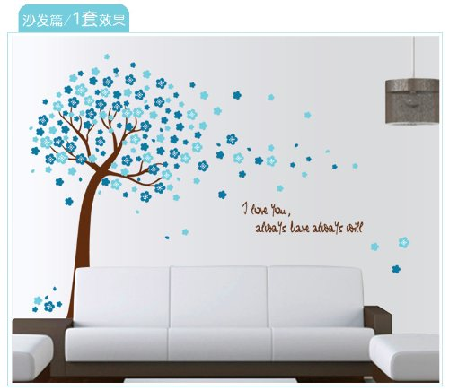 Blue Peach Tree Decor Decals Poster House Wall Stickers Quotes Removable Vinyl Large Wall Sticker For Kids Rooms W-10