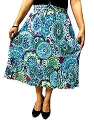 COTTON BREEZE Women's Cotton A-line Skirt (Blue)