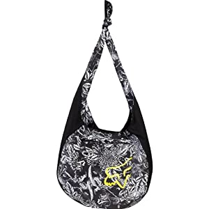 "Fox Racing Twisted Sling Tote Women's Fashion Purse w/ Free B&F Heart Sticker Bundle - Black / Size 16.5"" x 21"" x 8"""
