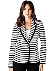 Per Una 1 Button Striped Ponte Jacket