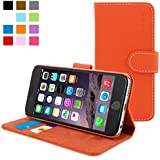 iPhone 6 Case, SnuggTM - Orange Leather Wallet Cover and Stand with Card Slots & Soft Premium Nubuck Fibre Interior - Protective Apple iPhone 6 Flip Case - Includes Lifetime Guarantee