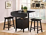 3 Pc Black Finish Counter Height Drop Leaf Picture
