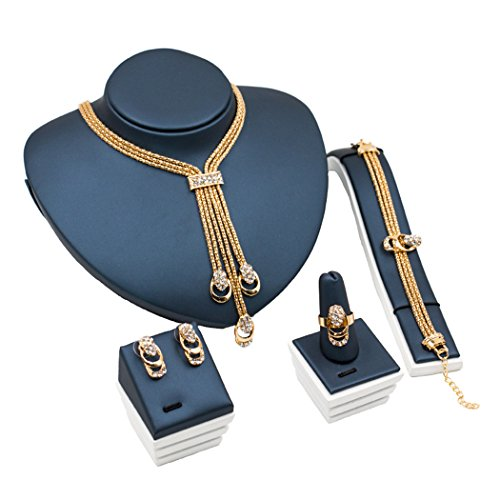 axibo Fashion placcato oro 18K collana e orecchini set di bracciale e anello per le donne