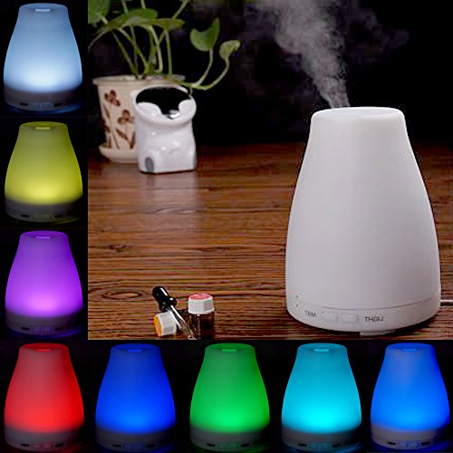 Efrank 120ml White Ultrasonic Aroma Diffuser Essential Oil Purifier Air Humidifier with 2 Mist Model and 7 Colors Changing Lights Excellent for Massage and Yoga