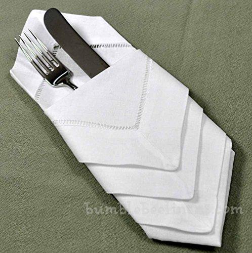 "Hotel Collection Ladder Stitch: 22"" X 22"" White Linen Hemstitched Dinner Napkins Set Of 4"