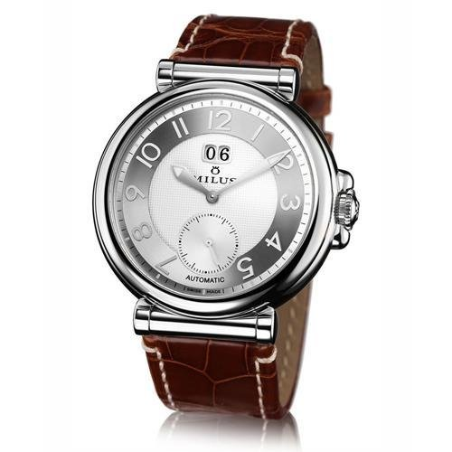 Milus ZETIOS ZET002 42 Automatic Stainless Steel Case Brown Leather Band Anti-Reflective Sapphire Men's Watch