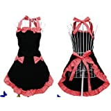 Cute Black and Red Bowknot retro stylist publix dress clothing personalized cook cotton apron dress pattern special gifts