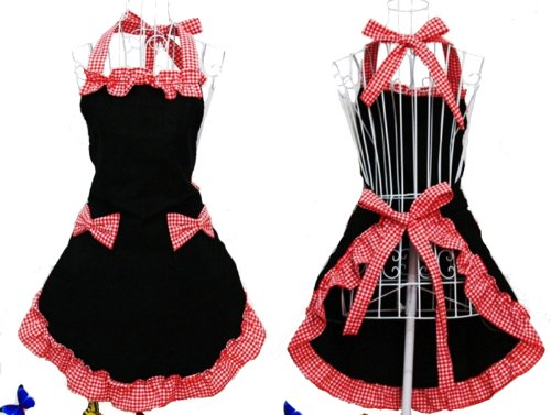 cute-black-and-red-bowknot-retro-stylist-publix-dress-clothing-personalized-cook-cotton-apron-dress-
