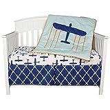 Airplane Theme Globetrotter 3 Piece 100 % Cotton Crib Bedding Set by Kidsline