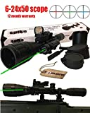 Ledsniper® 3in1 6-24x50 Red&green&blue Rifle Scope Sight/1'' Ring 20mm Weaver Picatinny Mounts+1x22x33 Holographic 4 Reticle Reflex Tactical Red Dot Sight Scope 20 Mm Rail+powerful Tactical Hunting Rifle Green Laser Sight Dot Scope Adjustable w/ Mounts