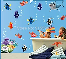 finding Nemo Under Sea Shark Fish 3d Cartoon Waterproof Vinyl Wall Decals Stickers/bathroom Wall Decor Kids Gift