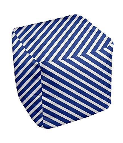 E by design Stripe Pouf, 13-Inch, 2Dazzling Blue