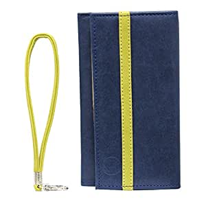 Jo Jo A5 Nilofer Leather Wallet Universal Pouch Cover Case For Samsung Galaxy Win I8550 Dark Blue Parrot Green
