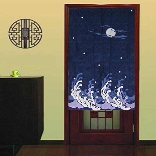 Dark Blue Peaceful Night Pattern Doorway Curtain Big Waves and Bright Moon Shinny Stars Japanese Style Noren Curtain