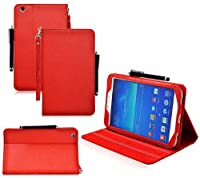 COD(TM) Stand Leather Case For Samsung Galaxy Tab 3 8 inch 8.0 (Red) by CrazyOnDigital