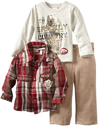 Little Rebels Little Boys' 3 Piece Mountain Club Pant Set, Beige/Khaki, 3T