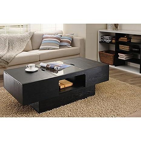 Furniture of America Stevie Black Finish Hidden Storage Rectangular Coffee Table