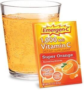Emergen-C Vitamin C Fizzy Drink Mix, 1000 mg, Super Orange, 0.3 Ounce Packets 30 packets.
