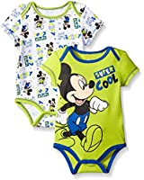 Disney Baby Boys' Disney Mickey Mouse Adorable Soft Two-Pack Bodysuits