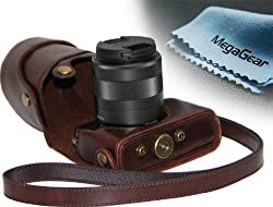 MegaGear (Ever Ready) Protective Leather Camera Case, Bag for Canon Eos M , Canon Eos M2 (Dark Brown)