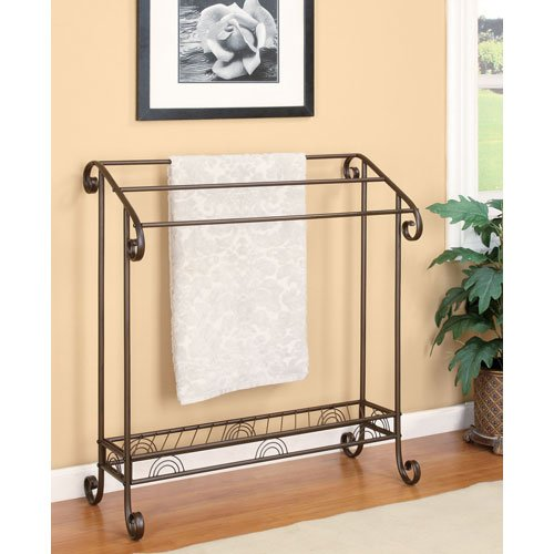 Freestanding Towel Rack, Dark Bronze Finish