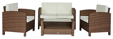 homcom Gartenmöbel Polyrattan 14-er teilig Rattan Gartenset Lounge Sitzgruppe Sofa Set, braun