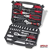 67 Piece Apollo Auto Mechanics Tool Kit including Professional 72 Teeth Quick Release Ratchet Handle, 4 to 19 mm Metric Sockets, Combination Pliers, Long Nose Pliers, Adjustable Wrench, Bit Driver and Screwdriver Bits, Voltage Tester & Metric Hex Key Set in Compact Storage Box