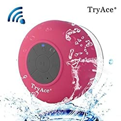 TryAce®Wireless Bluetooth Waterproof Shower Speaker Bluetooth 3.0 Car Handsfree Speakerphone built in Mic Control Buttons and Dedicated Suction Cup for Showers, Bathroom, Pool, Boat, Car, Beach, & Outdoor Use(Rose Red)