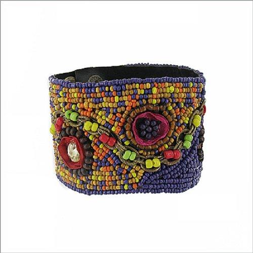 JOA Beaded Flower & Chain Design Bracelet #040534