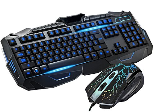 BlueFinger-Three-Color-Adjustable-Luminous-with-Purple-Red-Blue-Gaming-Keyboard-and-Mouse-Combo-Set-Black-with-a-Mouse-Pad-as-a-Gift